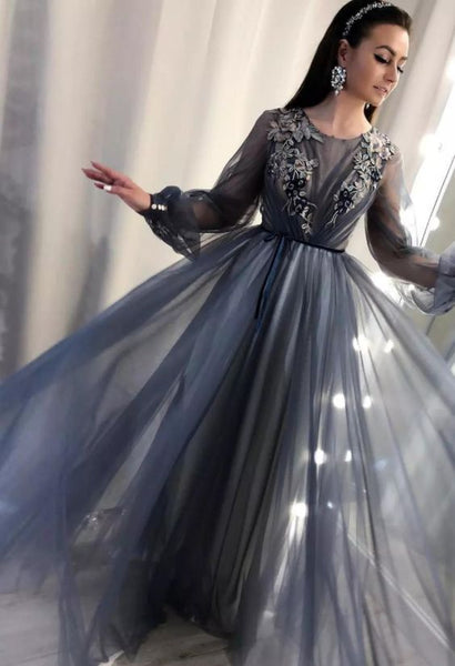 Formal Prom Dresses Long Sleeve Lace Appliqued Beads Celebrity Party Gowns cg1965