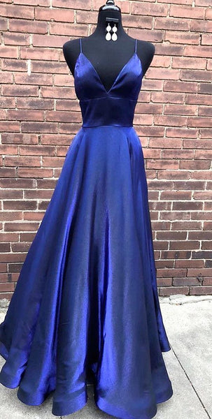 Simple Elegant A Line V Neck Spaghetti Straps Navy Blue Long Prom Dress  cg1966