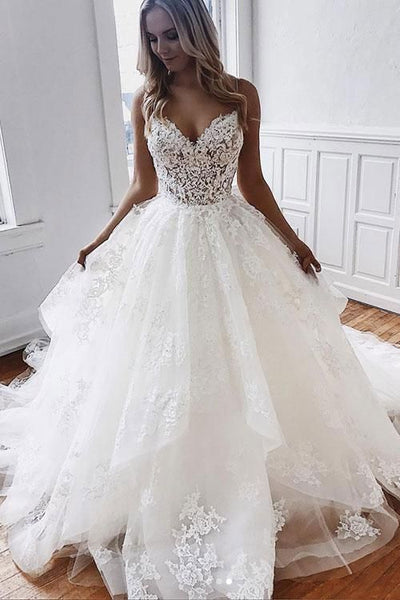 Spaghetti Straps Long Wedding Dresses with Appliques Lace Prom Dresses    cg19678