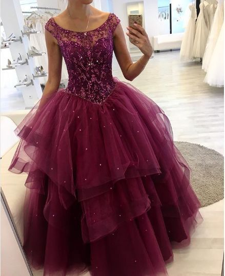 Charming Tulle Prom Dress With Beading    cg19683