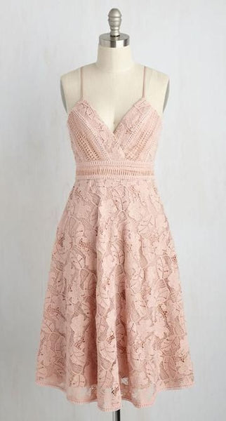 A-Line Spaghetti Straps Knee-Length Pink Sleeveless Lace Homecoming dress cg1974