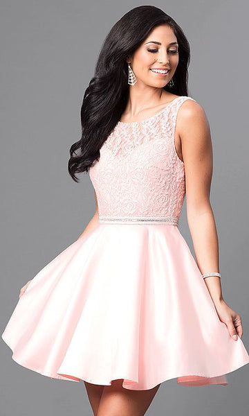 Cheap Short Homecoming Party Dress with Lace Bodice cg1975