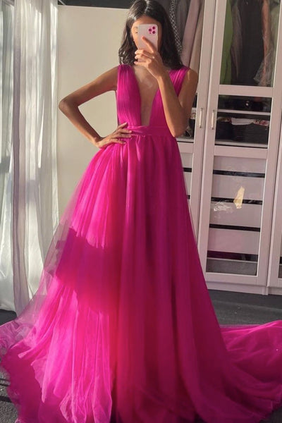 Plum red v neck tulle long prom dress tulle formal dress    cg19776