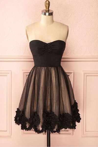 Comely Black Dresses Sweetheart Knee-Length Black Tulle Homecoming Dress With Appliques  cg1977