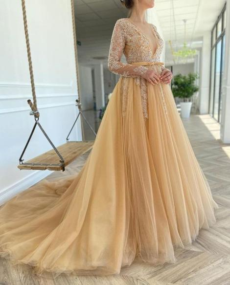 A-line V Neck Tulle Lace Prom Dress   cg19847