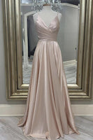 satin long A line prom dress simple evening dress     cg19898