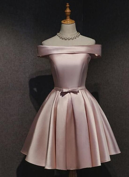Pink Off Shoulder Homecoming Dress, Pink Party Dress 2019, Cute Satin Dress cg1989