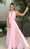 Pink Prom Dress,Tulle Evening Dresses,Pleat Prom Dresses,Halter Prom Gown    cg19921