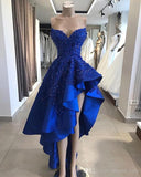 Royal Blue High Low Evening Party Dresses 2019 Sweetheart Beaded Lace Applique Ruffles Skirt Summer Occasion Prom Gowns  cg1995