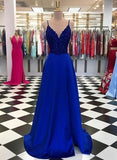 Sexy V neck Royal Blue A Line Prom Dress, Spaghetti Straps Evening Dress cg1997