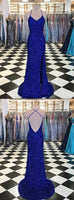 Trumpet/Mermaid Royal Blue Long Prom Dresses Spaghetti Straps Beading Evening Gowns cg1998