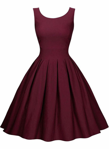 Women's Elegant Round Neck 1950s Retro Cocktail Dress Pleated Homecoming Dress cg2002