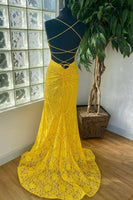 mermaid yellow lace long prom dress| 2021 prom dress formal dress    cg20045