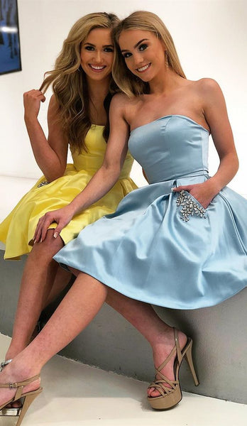 A Line Strapless Light Blue Short Homecoming Dress With Pockets Beading cg2004
