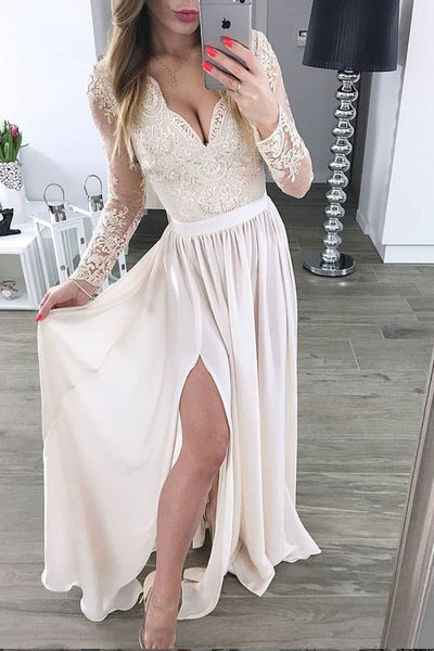 V Neck Prom Dress,Lace Prom Dress,Long Sleeve Prom Dress,Chiffon Evening Dress,Ball Dress,Bridesmaid Dress cg2006