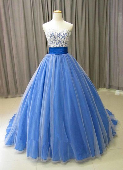 Spring blue tulle long formal lace prom dress, evening dress    cg20178