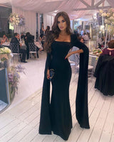 Black Simple Mermaid Floor Length Prom Dress With Long Sleeves     cg20197
