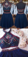 Two-Piece High Neck Short Tulle Navy Blue Homecoming Dress with Embroidery cg202
