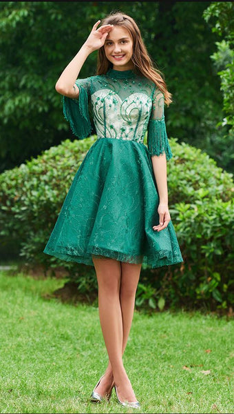 cocktail dress elegant lace high neck beading half sleeves tassel short mini wedding party formal homecoming dress cocktail dresses cg2020
