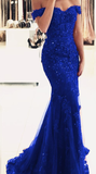 royal blue lace mermaid evening dress off the shoulder prom dress cg2022