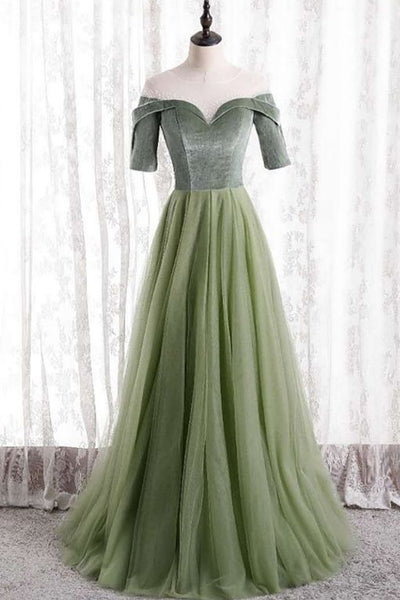 short sleeves sage green tulle long formal dress party dress prom dress    cg20231