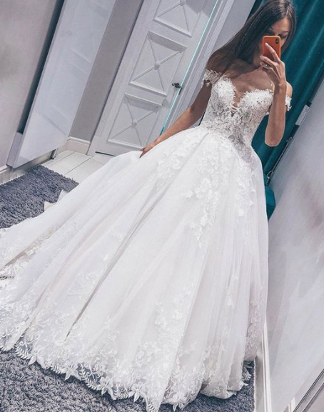 White tulle lace off shoulder long prom dress, evening dress cg2023