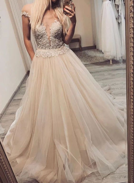 Champagne tulle lace long prom dress, evening dress cg2025
