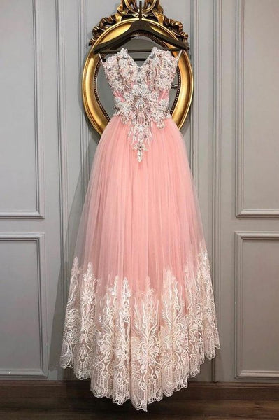 PINK SWEETHEART TULLE LACE LONG PROM DRESS, PINK LACE EVENING DRESS cg2026