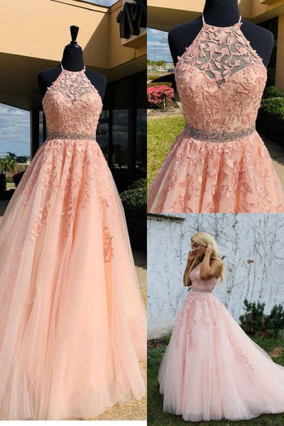 2021 Halter Pink Lace Prom Dress with Appliques,    cg20305