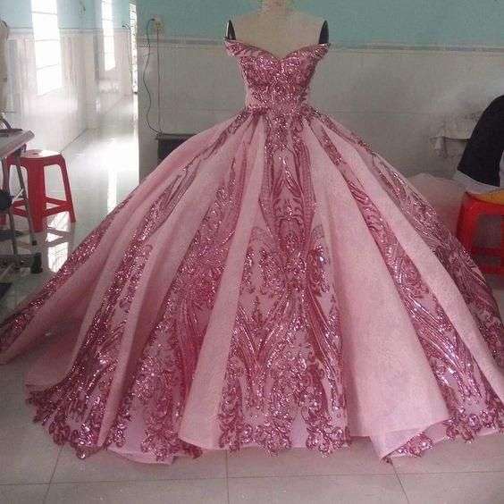 pink prom dresses, luxury prom dresses, sparkly prom dresses, prom ball gown   cg20324