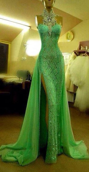 Custom Made Crystal Evening dresses Green High Neck Lace Prom Dresses With Slit Sexy Mermaid Crystal Beaded Prom Dresses   cg20361