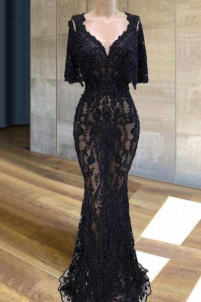 Black Lace Prom Dresses Mermaid Illusion Beading Cocktail Dresses     cg20397