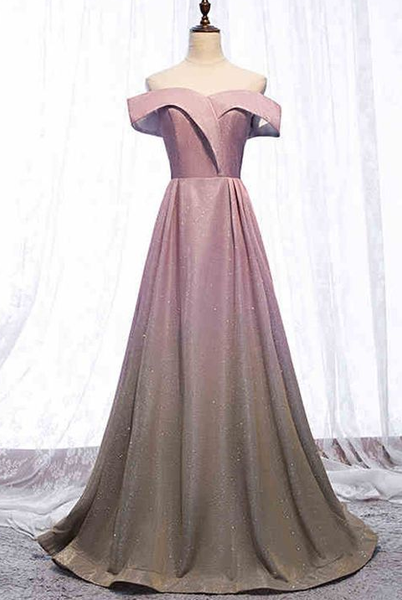 A Line Floor Length Long Prom Dress Cap Sleeve Sparkly Gradient Prom Party Gowns cg2040
