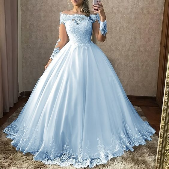 Off the shoulder blue tulle lace prom dress     cg20467