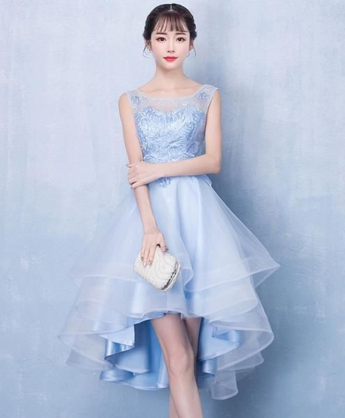Blue tulle high low lace dress, blue tulle lace homecoming dress cg2047