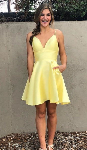cheap yellow stain short party dresses, spaghetti straps short back to school  ,cute homecoming dress  cg204