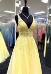 Yellow v neck tulle lace prom dress evening dress    cg20553