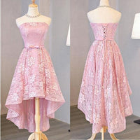 Nice Pink, High Low, Lace Dress Pink, High Low Dress, Lace Dress ,homecoming dress cg206
