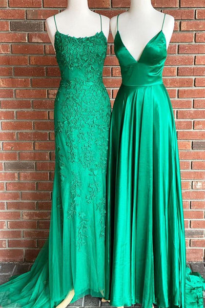 ( Dress left ) Green tulle long prom dress, evening dress    cg20741