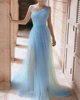 Mermaid One Shoulder Sparkly Prom Dresses   cg20751