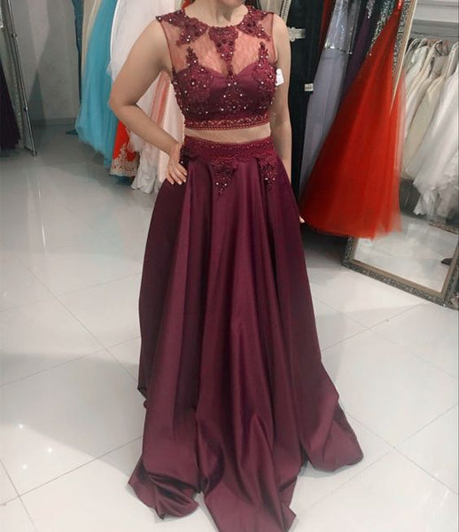 Burgundy prom dresses satin long formal two piece gowns    cg20754