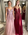 Charming A Line V Neck Spaghetti Straps Blush Lace Prom Dresses, Party Dresses    cg20872