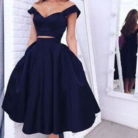 Elegant Off-the-shoulder Two-piece Tea-Length Navy Homecoming Dress ,cheap homecoming dress cg20