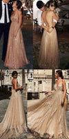 sparkle gold long prom dress, 2019 prom dress, sexy deep v neck prom dress with backless,prom dresses cg21