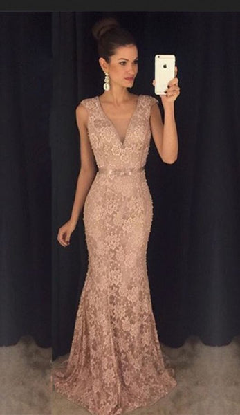 Long V Neck Lace Prom Dress    cg21000