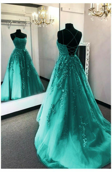 elegant tulle and lace prom dress with appliques    cg21019