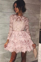 pink short homecoming dresses, long sleeves lace short dresses, lace tiered short homecoming dress with sleeves  cg210