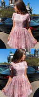 Cute A Line Round Neck Cap Sleeves Pink Lace Short Homecoming Dresses cg211