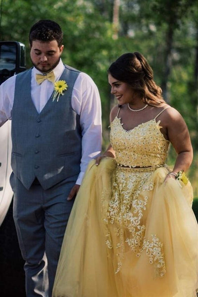 Elegant Straps Two Piece Yellow Long Lace Prom Dress    cg21169