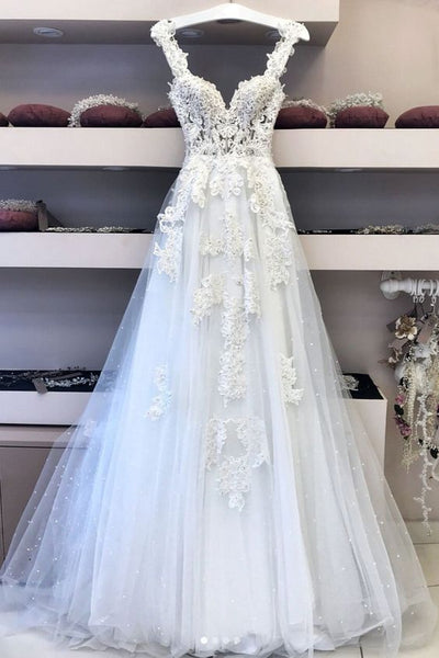 White v neck lace tulle long wedding dress, lace prom dress    cg21190